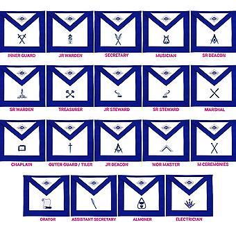Freimaurer blau Lodge Offiziere Schürzen Variationen - Satz von 19