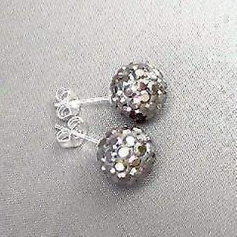 Shamballa Holzkohle Kristalle auf 925 Silber Ohrstecker