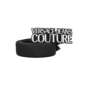Versace Jeans Couture Logo Buckle Black Leather Belt