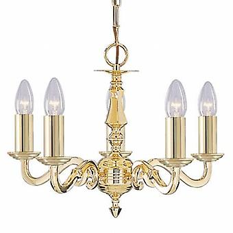 5 Light Multi Arm Ceiling Pendant Polished Brass