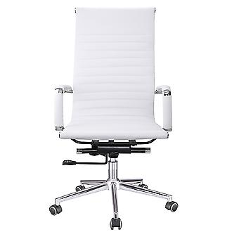 Yescom Executive High Back Ribbed PU Leather Swivel Office Computer Desk Chair White XL