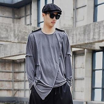 Men's manga larga irregular Vintage camiseta suelta