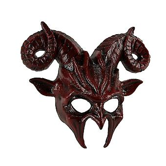 Blood Red Ram Horns Dark Demon Goat Man Adult Halloween Costume Mask