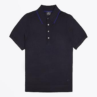 PS Paul Smith  - Merino Wool Short-Sleeve Polo Shirt - Navy