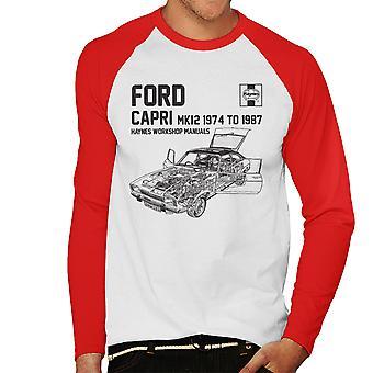 Haynes proprietários Workshop Manual 0283 Ford Capri Mk12 preto Baseball masculino t-shirt de mangas compridas