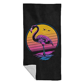 Rad Flamingo 80s Sunset Beach Serviette
