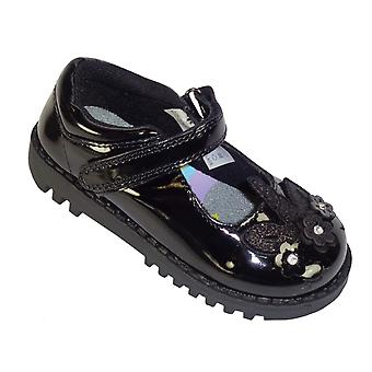 Girls black patent school shoes with Unicorn detail