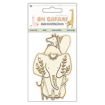 هوس الورق على سفاري خشبية الحيوانات الزينة (4pcs) (PMA 356251)