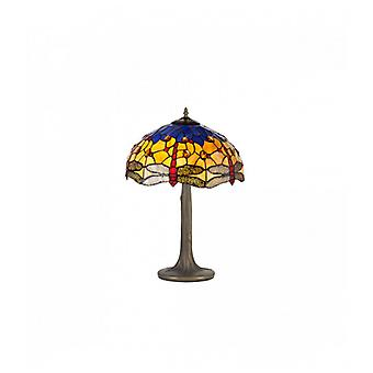 Clio 2 Light Tree Like Table Lamp E27 With 40cm Tiffany Shade, Blue/orange/crystal/aged Antique Brass