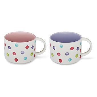 Cooksmart Spotty Dotty Stacking Mug, Pink and Lilac