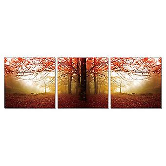 Furinno SeniA Wall Mounted Triptych Photography Prints, Autumn Leaves, Set of Three