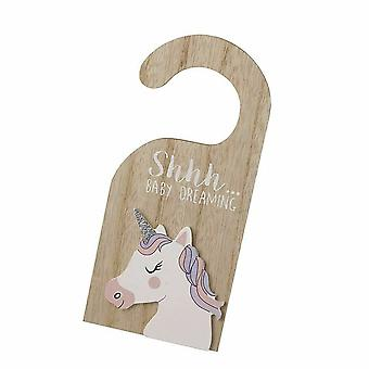shhh Baby Dreaming Wooden Unicorn Door Sign Hanger