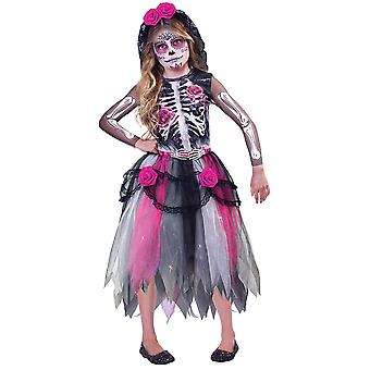 Girls Day of the Dead Costume Halloween Enfant Squelette Fancy Dress 8-10 Ans