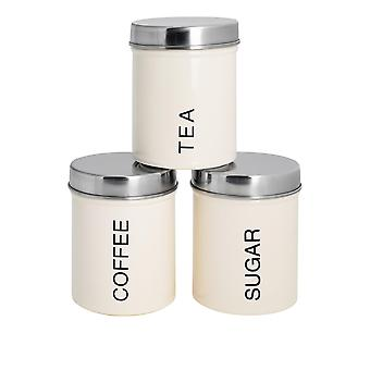 3 Peça Contemporary Tea Coffee Coffee Sugar Canister Set - Aço Kitchen Storage Caddy with Rubber Seal - Cream