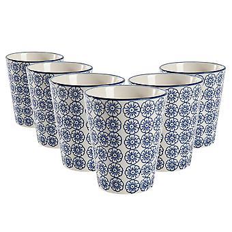 Nicola Frühling Set von 6 Hand gedruckt Porzellan Tassen - japanischen Stil Druck - 300ml - blau