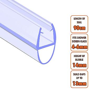 ECOSPA Bath Shower Screen Door Seal Strip - for 4-6mm Glass - Seals Gaps to 13mm