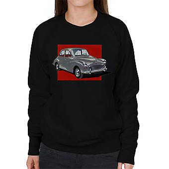 Morris Minor Red Background British Motor Heritage Women's Sweatshirt