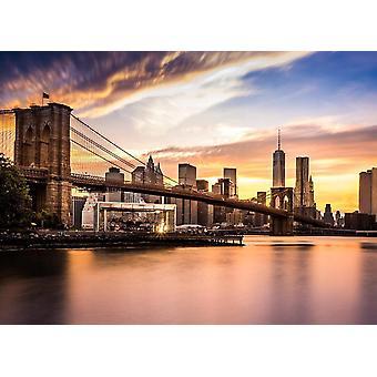 Wallpaper muurschildering Bridge Brooklyn bij zonsondergang