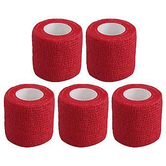 5 PCS Red Breathable Cohésive Bandage Élastique Auto-Adhérent Tape 4.5m