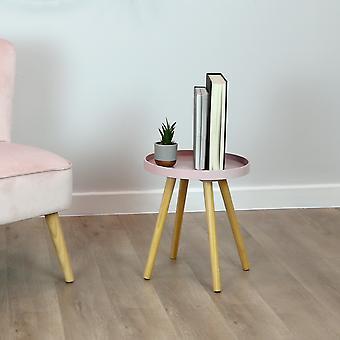 Charles Bentley Taca Top Side Table z pine legs blush salon łóżko scandi