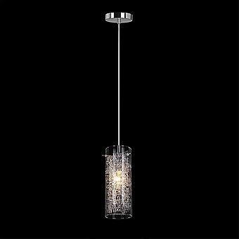 Moderne hangende hanghanger Chrome 1 Licht met glazen kap, E14