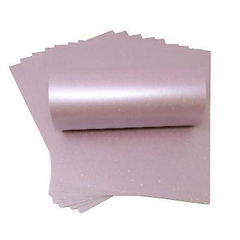10 feuilles de Tea Rose Sparkle Card 300gsm