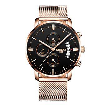 Nibosi Steel Watch for Men - Luxury Strap Anologue Movement for Men Quartz Rose Gold
