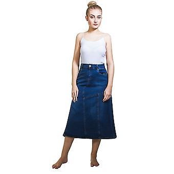 Stretch denim flared panelled midi skirt