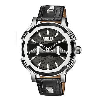 Rebel Men's Brooklyn Bridge Black Dial Leather Watch