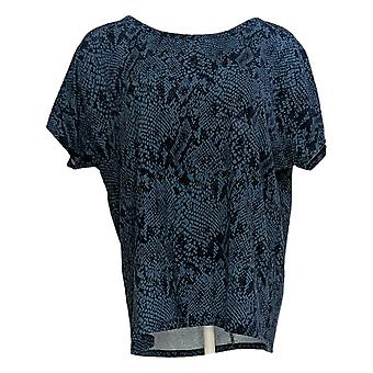 Anybody Women's Top Short Sleeve Snake Print Blue A381286