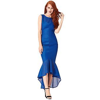 Blue textured fishtail maxi dress