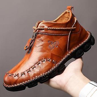 Winterstiefel, echtes Leder Stiefeletten, warme Schneestiefel, Chaussure Homme