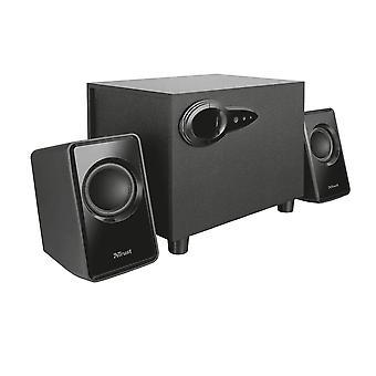 Vertrouw op 20442 avora 2.1 pc luidsprekers met subwoofer voor computer en laptop, usb powered, 18 w standaard