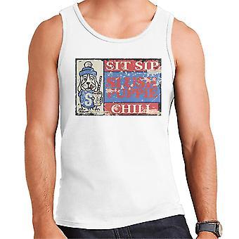 Slush Puppie Retro 70's Sit Sip Chill Poster Men's Vest