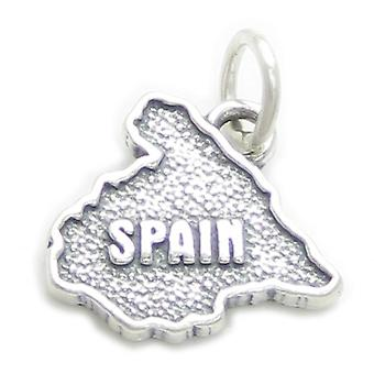 Spain Map Sterling Silver Charm .925 X 1 Spanish Country Charms - 3410