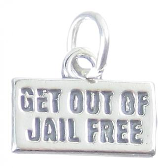Get Out Of Jail Free Sterling Silver Charm .925 X 1 Board Game Charms - 3858