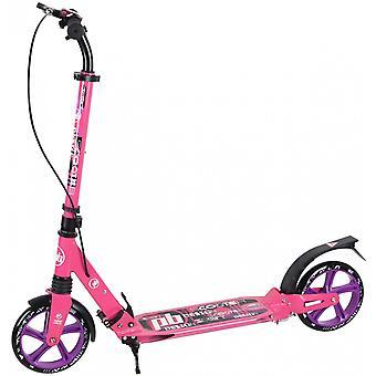 skootteri iskunvaimentimella - vaaleanpunainen - 20 cm:n pyörät - käsijarrulla