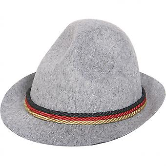 Hat Tyrolean With Cord 26 X 13 Cm Polyester Grey