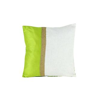 Fabric Accent Pillow With Jute Strip, White And Green