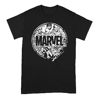Men's Marvel Classic Avengers Character Circle Black T-Shirt
