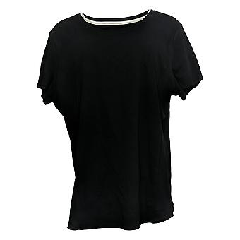 Isaac Mizrahi Live! Women's Top Pima Cotton Seamed Tshirt Black