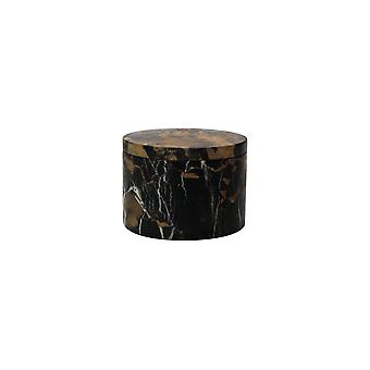 """Spura Home Eirenne Collection Black & Gold Marble 5-3/4"""" Dia x 4"""" Honed Finish Box"""