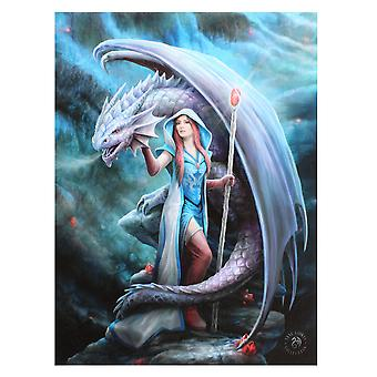 19x25cm Dragon Mage Canvas Plaque by Anne Stokes