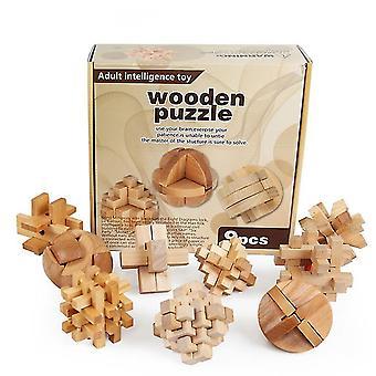 9 I 1 træ puslespil, 3d Kongming Lock, træ Pædagogisk Legetøj