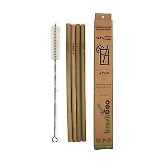 Packa 4 bambusugrör + renare 1 enhet