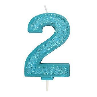 Sininen kimalteleva numerokynttilä - numero 2 - 70mm