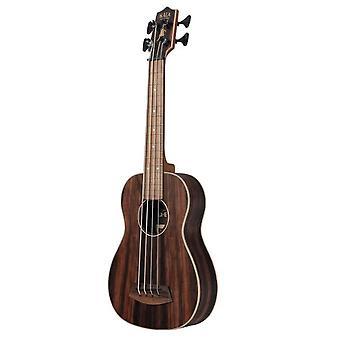 Kala ubass-eby-fsrw striped ebony acoustic-electric ukulele bass with round wounds