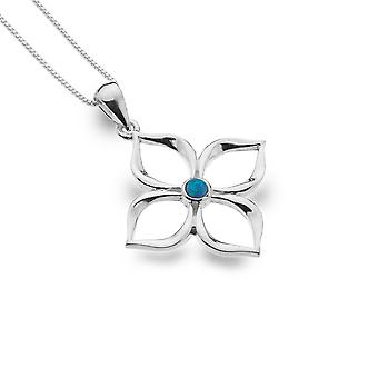 Sterling Silver Pendant Necklace - Origins Flower + Blue Synthetic Opal