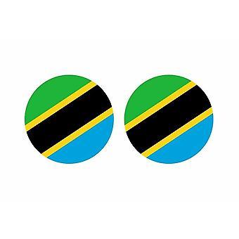 2x palo pegatina alrededor de cucaracha bandera tanzana bandera tanzana bandera tanzana