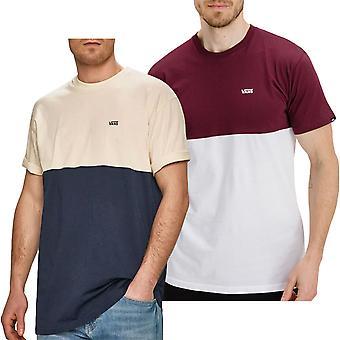 Vans Mens Colorblock Crew Neck Katoen T-Shirt T-Shirt Top - Bordeaux/Wit